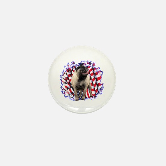 Pug Patriotic Mini Button