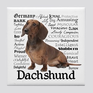 Dachshund Traits Tile Coaster