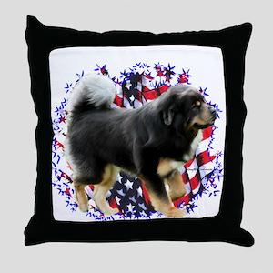 Tibetan Mastiff Patriotic Throw Pillow