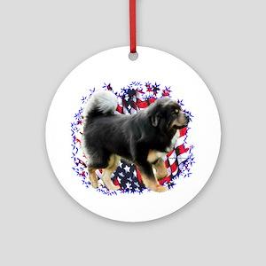 Tibetan Mastiff Patriotic Ornament (Round)