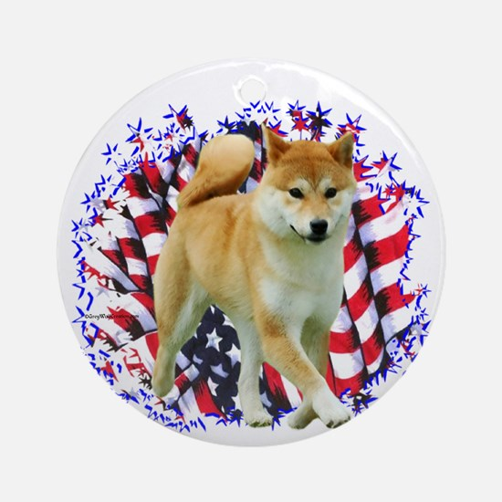 Shiba Patriot Ornament (Round)