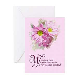 Godmother Pink Flowers Greeting Cards