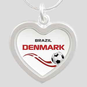 Soccer 2014 DENMARK Silver Heart Necklace