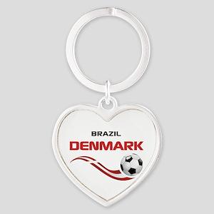 Soccer 2014 DENMARK Heart Keychain