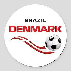 Soccer 2014 DENMARK Round Car Magnet