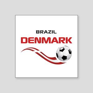"Soccer 2014 DENMARK Square Sticker 3"" x 3"""