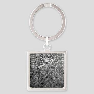 Crocodile Leather Square Keychain