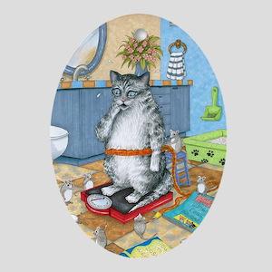 Cat 579 Oval Ornament