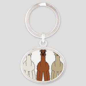 alpaca - no text Oval Keychain