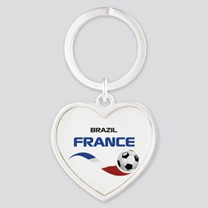 Soccer 2014 FRANCE 1 Heart Keychain