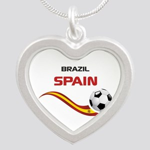 Soccer 2014 SPAIN Silver Heart Necklace