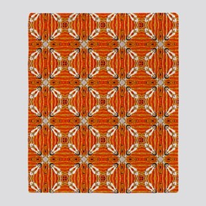 Funky Artsy Patterned Orange Throw Blanket