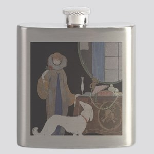 Art Deco White Borzoi Flask