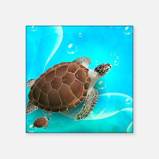 """Cute Sea Turtles Square Sticker 3"""" x 3"""""""