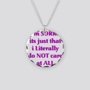Im Sorry its just that i Lit Necklace Circle Charm