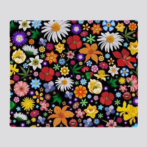 Spring Flowers Pattern Throw Blanket