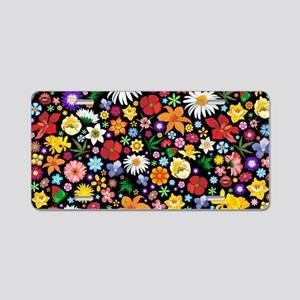Spring Flowers Pattern Aluminum License Plate
