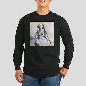 Watercolor Borzoi Long Sleeve Dark T-Shirt