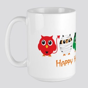 Happy Halloween Owls Large Mug