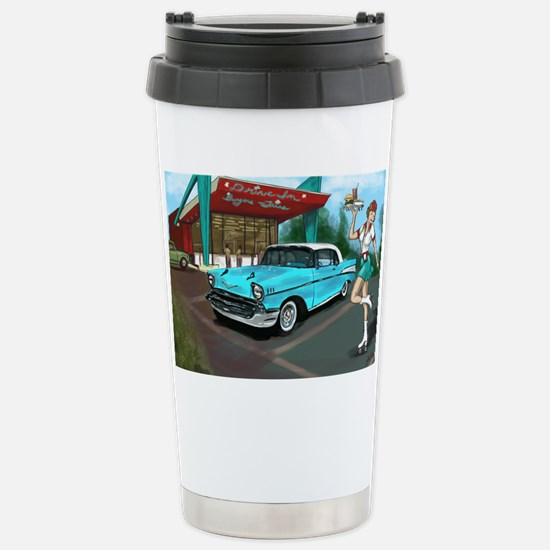 57 Chevy with Car Hop G Stainless Steel Travel Mug