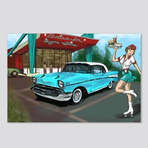 57 Chevy with Car Hop Gir Postcards (Package of 8)