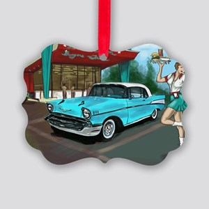 57 Chevy with Car Hop Girl Picture Ornament