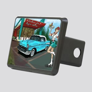 57 Chevy with Car Hop Girl Rectangular Hitch Cover
