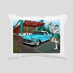 57 Chevy with Car Hop Gi Rectangular Canvas Pillow