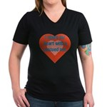 I Share My Heart Women's V-Neck Dark T-Shirt