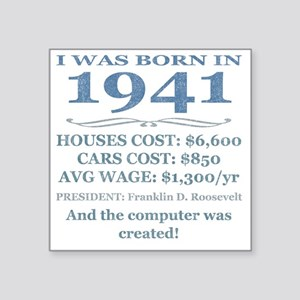 "Birthday Facts-1941 Square Sticker 3"" x 3"""