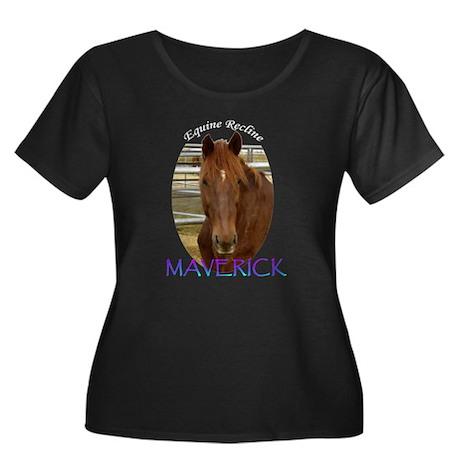 Maverick Women's Plus Size Scoop Neck Dark T-Shirt