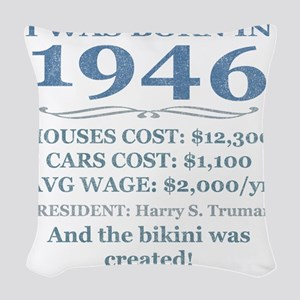 Birthday Facts-1946 Woven Throw Pillow