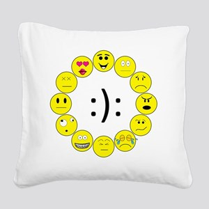 Emoticons Square Canvas Pillow