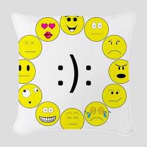 Emoticons Woven Throw Pillow
