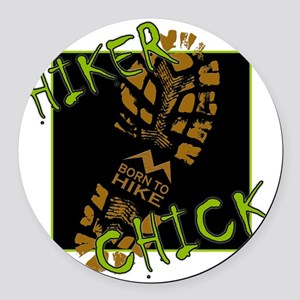 Hiker Chick - Boot Round Car Magnet