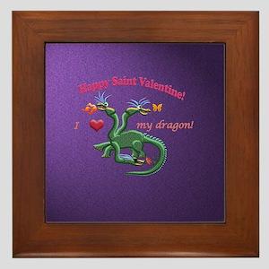 Saint Valentine dragon Framed Tile