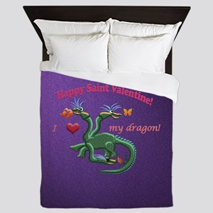 Saint Valentine dragon Queen Duvet