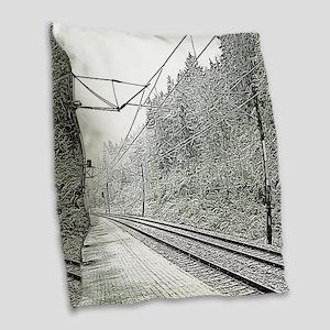 railroad track digital Burlap Throw Pillow