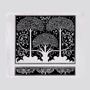 Art Nouveau Vintage Tree Pattern Throw Blanket