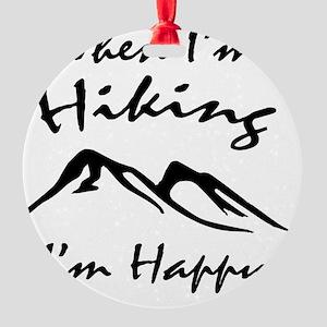 Hiking (Black) Round Ornament