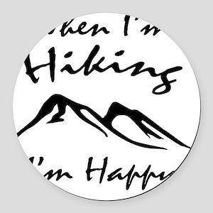 Hiking (Black) Round Car Magnet