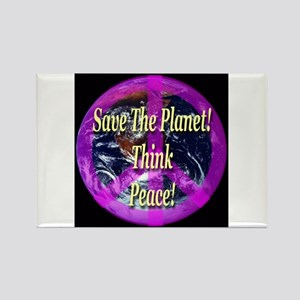 Save the Planet Think Peace Rectangle Magnet