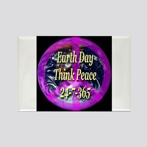 Earth Day Think Peace Rectangle Magnet