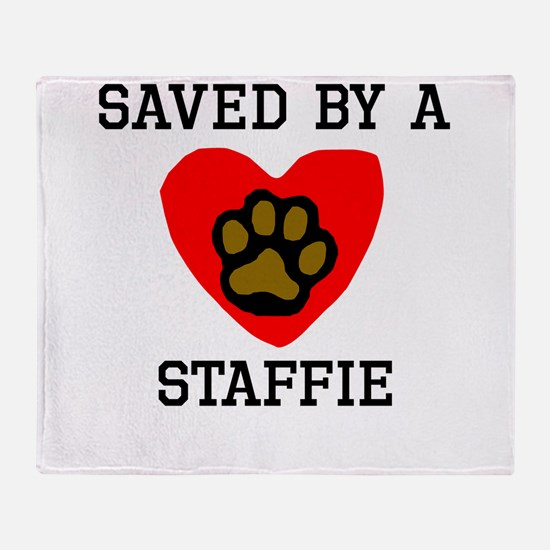 Saved By A Staffie Throw Blanket