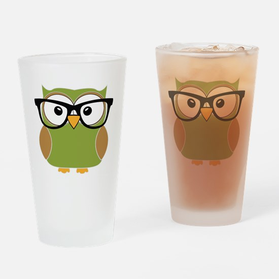 Funky Hipster Owl Drinking Glass