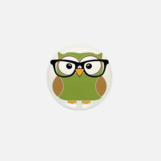 Funky Hipster Owl Mini Button