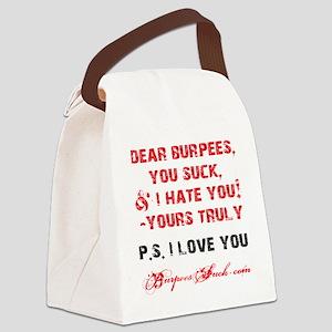 DEAR BURPEES II - WHITE Canvas Lunch Bag