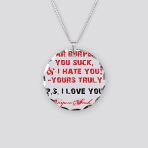 DEAR BURPEES II - WHITE Necklace Circle Charm