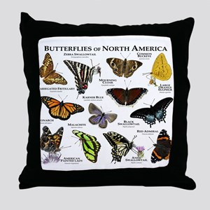 Butterflies of North America Throw Pillow