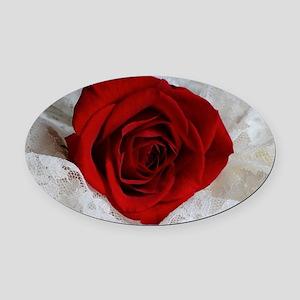 Wonderful Red Rose Oval Car Magnet
